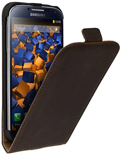 mumbi PREMIUM Leder Flip Case für Samsung Galaxy S4 Tasche braun