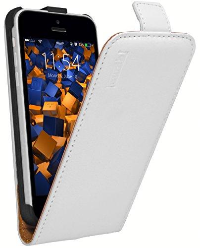mumbi PREMIUM Leder Flip Case für iPhone 5c Tasche weiss