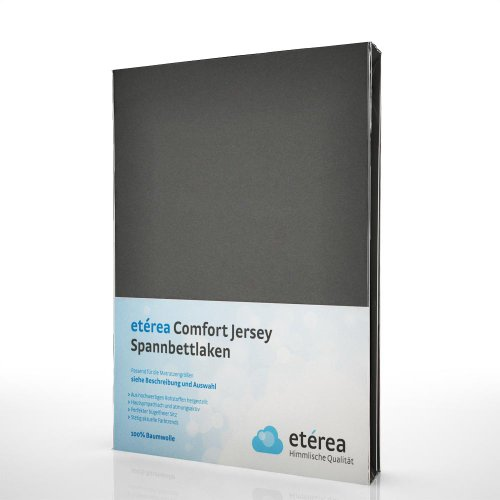 etérea Comfort Jersey Spannbettlaken - in viele Farben und alle Größen - 100% Baumwolle, Anthrazit 90x200 - 100x200 cm