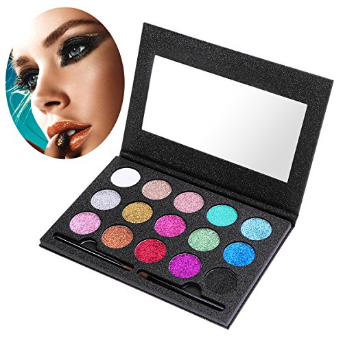 ETEREAUTY Glitzer Lidschatten Augen mit Lidschattenpinsel 15 Farben