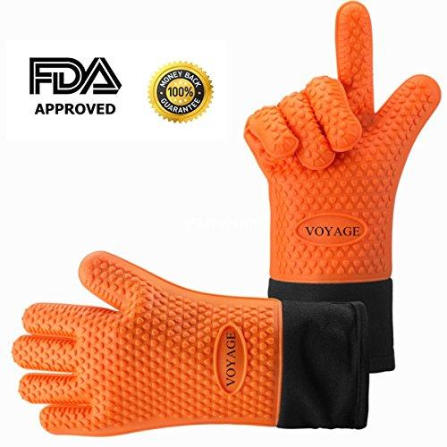 VOYAGE Premium Ofenhandschuhe (2er Set) bis zu 500 °C - Silikon Extrem Hitzebeständige Grillhandschuhe BBQ Handschuhe zum Kochen, Backen, Barbecue Isolation Pads - Extra lange Topfhandschuhe für extreme Sicherheit (Orange)