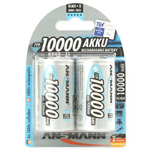 ANSMANN wiederaufladbar Akku Batterie Mono D Typ 10000mAh NiMH hochkapazitiv Hohe Kapazität ohne Memory-Effekt Profi Digital Kamera-Akkubatterie 2er Pack
