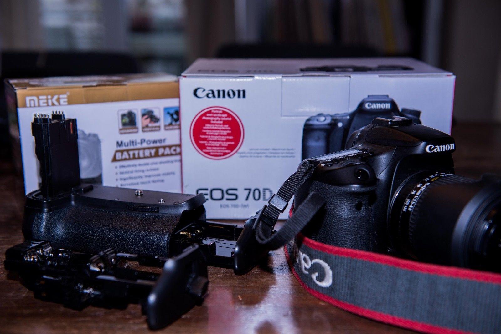 Canon EOS 70D Zubehörpaket: Sigma 18-125mm 1:3.5-5.6 3 Zusatzakkus Batteriegriff