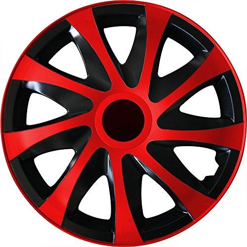 (Farbe und Größe wählbar) 16 Zoll Radkappen DRACO (Schwarz-Rot) passend für fast alle Fahrzeugtypen (universal)