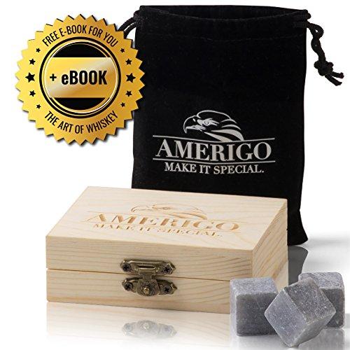 Premium Whisky Steine von Amerigo - Zerstört Whiskey Wegen Geschmolzen Eis? Nie Wieder! Das Set die 9 Chilling Whisky Steine - Whiskey Kühlsteine Gepackt in ein Exklusiv Hölzern Geschenkset - Eiswürfel - die Getränk Steine - ein Sack von Samt Gratis