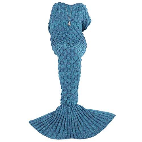 AMIR Mermaid Tail Blanket Crochet, Mermaid Blanket, Super Soft and Fashion Blanket, All Seasons Sleeping Blanket for Kids, Adults, Girls, for Christmas Gift