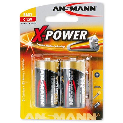 ANSMANN X-Power Alkaline Batterie Baby C LR14 Longlife Alkalibatterie für extrem hohen Strombedarf (2er Pack)