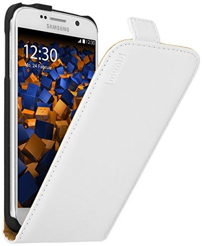 mumbi PREMIUM Leder Flip Case für Samsung Galaxy S6 / S6 Duos Tasche weiss