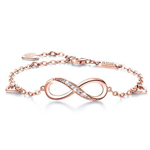 Billie Bijoux Roségold Unendlichkeit Symbol Damen Armband 925 Sterling Silber Zirkonia Armkette Verstellbar Charm Armband