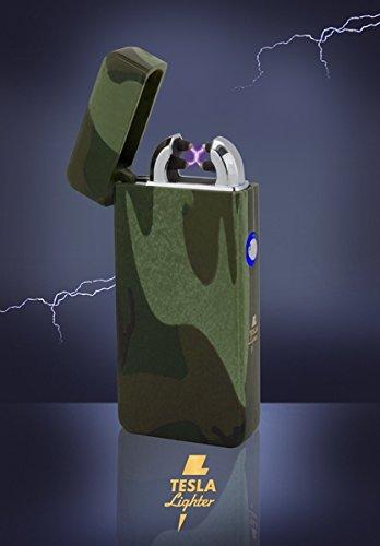 Tesla-Lighter T08 | Lichtbogen Feuerzeug, Plasma Double-Arc, elektronisch wiederaufladbar, aufladbar mit Strom per USB, ohne Gas und Benzin, mit Ladekabel, in edler Geschenkverpackung, Camouflage/Flecktarn