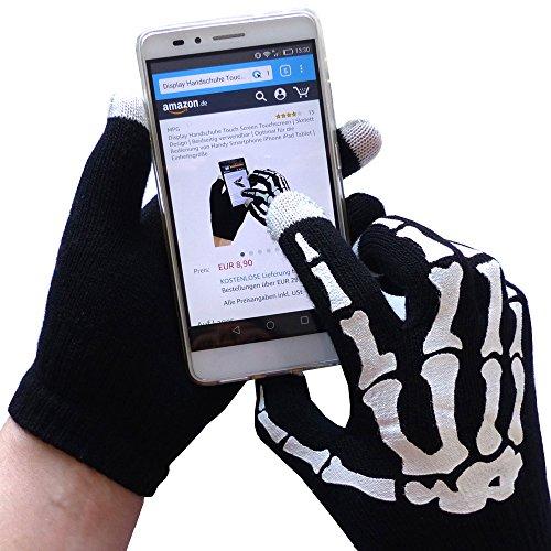 Display Handschuhe Touch Screen Touchscreen   Skelett Design   Beidseitig verwendbar   Optimal für die Bedienung von Handy Smartphone iPhone iPad Tablet   Einheitsgröße