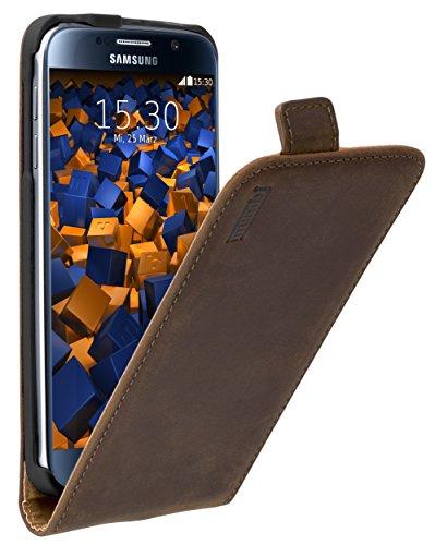mumbi PREMIUM Leder Flip Case für Samsung Galaxy S6 / S6 Duos Tasche braun