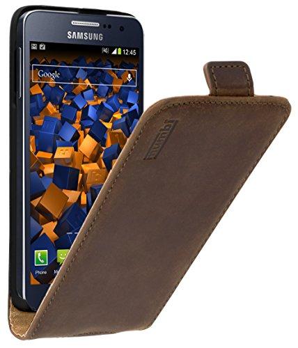 mumbi PREMIUM Leder Flip Case für Samsung Galaxy A3 (2015) Tasche braun