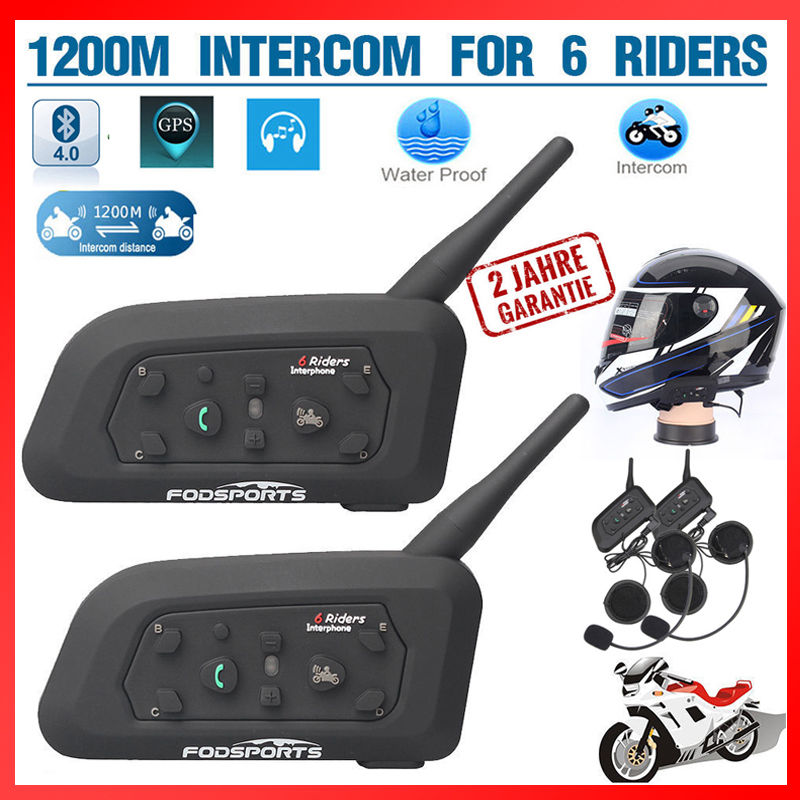 2x1200M BT Motorrad Bluetooth Helm Intercom Interphone Headset Gegensprechanlage