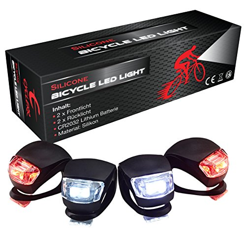 Silikonleuchte LED Set - 4er Fahrrad-Zusatzbeleuchtung (2x Lichter vorne weiß & 2x LED-Lampen rot), Sicherheitsbeleuchtung Kinder-Fahrrad, Silikonleuchten-Set mit Batterie, Licht Kinderwagen