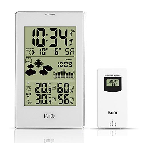 FanJu FJ3352 Wetterstation mit Außensensor Funk / Innen- und Außentemperatur und Feuchtigkeit / DCF-Empfangssignal Funkwetterstation / Mondphase / Betrieben Uhr mit Thermometer.