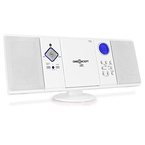 oneConcept V-12-BT • Stereoanlage • Kompaktanlage • Microanlage • Bluetooth-Schnittstelle • MP3-fähiger CD-Player • USB-Port • UKW/MW-Radiotuner • 20 Senderspeicher • AUX-In • Fernbedienung • Pianolack-Finish • Wandmontage möglich • weiß
