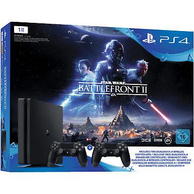 SONY PlayStation 4 1TB Schwarz + Star Wars Battlefront II + DualShock4 Controlle