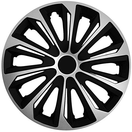 (Größe und Farbe wählbar!) 15 Zoll Radkappen / Radzierblenden STRONG BICOLOR BICOLOR SILBER (Schwarz/Silber), passend für fast alle Fahrzeugtypen (universell) – nur beim Radkappen König