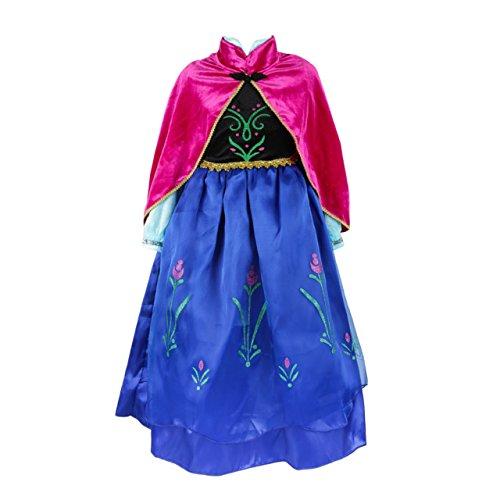 ELSA & ANNA® Mädchen Prinzessin Kleid Verrücktes Kleid Partei Kostüm Outfit DE-DRESS308-SEP (5-6 years, DE-SEP308)