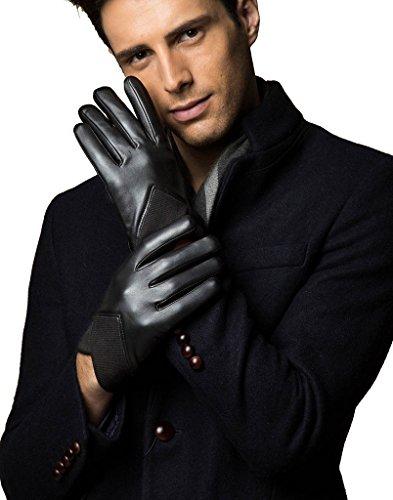 YISEVEN Herren Schwarze Schaffell Lederhandschuhe Touchscreen Winter Handschuhe mit warm gefüttert - Small/8.5