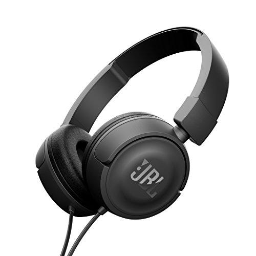 JBL T450 On-Ear Kopfhörer Ohraufliegend Leicht mit 1-Tasten-Fernbedienung und Mikrofon Kompatibel mit Apple und Android Geräten - Schwarz