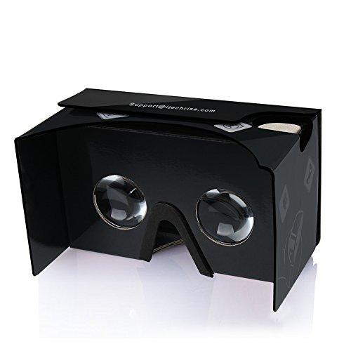 Google Cardboard,TechRise Virtual Reality 3D Karton Brille Google Cardboard V2.0 mit Einstellbar Komfort Kopfband und Ultra Clearer Linsen für alle 4-6 Zoll Smartphones - Schwarz