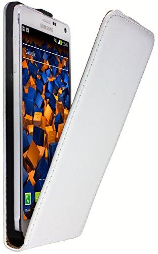 mumbi PREMIUM Leder Flip Case für Samsung Galaxy Note 4 Tasche weiss