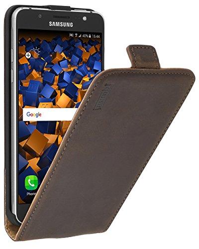 mumbi PREMIUM Leder Flip Case für Samsung Galaxy J5 (2016) Tasche braun