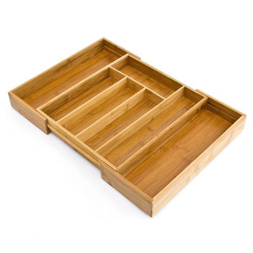 Relaxdays Besteckkasten aus Bambus H x B x T: ca. 5 x 48 x 34cm ausziehbarer Besteckeinsatz als Küchenorganizer und Schubladeneinsatz große Besteckeinlage mit 5 bis 7 Fächern Organizer aus Holz, natur