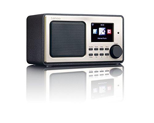 Lenco DIR-100 Internetradio WLAN mit Radiowecker und Wettervorhersage (8 cm TFT Farb-Display, USB, 2 Weckzeiten, AUX-Eingang, Line-Ausgang, Fernbedienung) , schwarz
