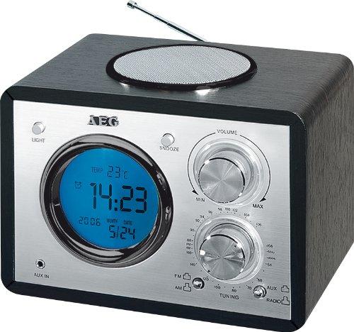 AEG MR 4104 Klassik-Radio (UKW-/MW-Tuner, LCD-Uhr, Weckfunktion, Teleskopantenne, Breitband-Lautsprecher, Temperatur-Anzeige) Schwarz