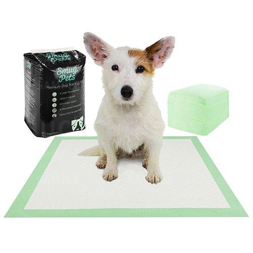 SmugPets Welpen Haus Hunde Training Pads Trainingsunterlagen 50 Pack | Superabsorbierende 6-lagige Welpen Unterlagen mit Lockmittel und Poly-Lock-Kern für schnelles Trocknen und Geruchsbeseitigung |
