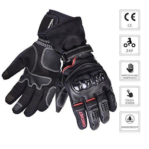 Motorradhandschuhe Winter, CARCHET Motorradhandschuhe Touch Screen Anti-Kalt Outdoor Handschuhe mit einstellbare Handgelenkweite wasserdicht Wärmehaltung für Damen und Herren ( Größe L)