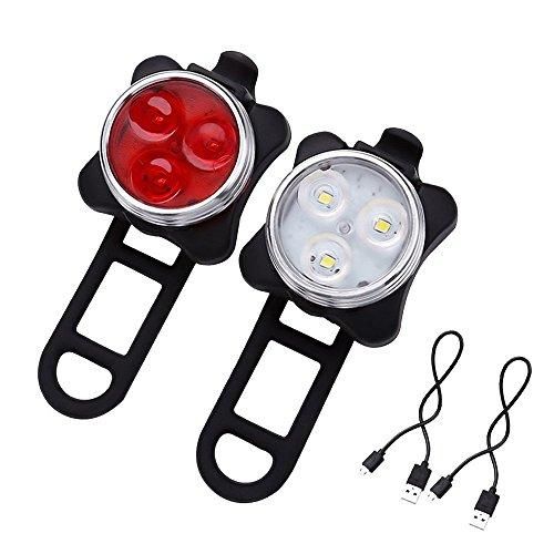 LED Fahrradlicht, LED Frontlicht und Rücklicht Für Fahrrad USB LED Fahrradlicht Set, Kinderwagenbeleuchtung, 350lm Wasserdichte 4 Licht-Modi 2 USB-Kabel zum Aufladen, Wiederaufladbare Led Fahrradlampe