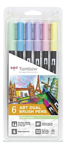 Tombow ABT-6P-2 Fasermaler Dual Brush Pen mit zwei Spitzen 6er Set, pastellfarben