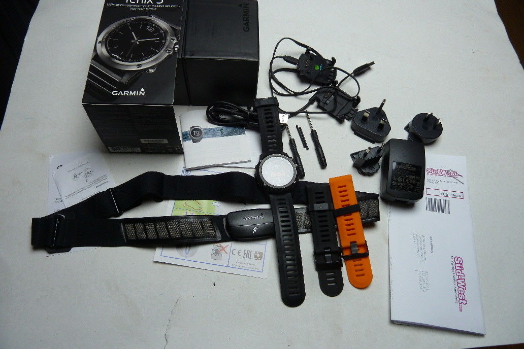 Garmin Fenix 3 HR Saphir Edition GPS Sportuhr Smartwatch + Ersatzarmband