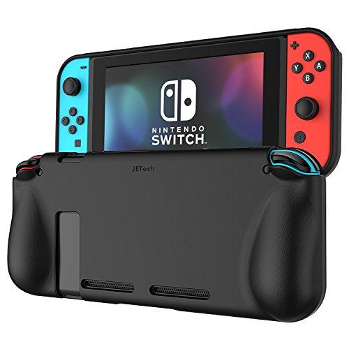 Nintendo Switch Hülle, JETech Switch Schützend Schutzhülle Silikonhülle Tasche Case Cover mit Federung und Anti-Scratch Back für Nintendo Switch (Schwarz)