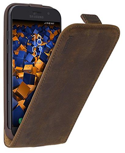 mumbi PREMIUM Leder Flip Case für Samsung Galaxy A5 (2017) Tasche braun