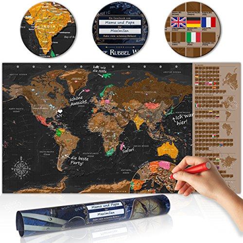 decomonkey | Rubbelweltkarte | 100x50 cm | Weltkarte zum Rubbeln mit Fahnen/ NationalfLaggen | Rubbelsposter | Rubbelkarte | FULL HD | Rubbellack | Rubbelbild | Mehrfarbiger Rubbellack | Scratch Off World | Travel Map | Landkarte | Poster | Weltkarte um R