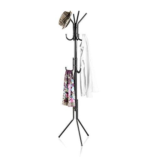 LANGRIA Garderobenständer Stabil Metall Kleiderständer 3 Ablage 11 Kleiderhaken, 173 cm (H) für Foyer Büro, Schwarz