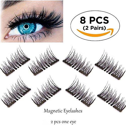 Neu Magnetische Wimpern, 3d faser wiederverwendbare lange wimpern für make - up, keine notwendigkeit, klebstoff und natürlich aussieht, perfekte größe für alle frauen der augen (8 Stück Doppelmagnet)