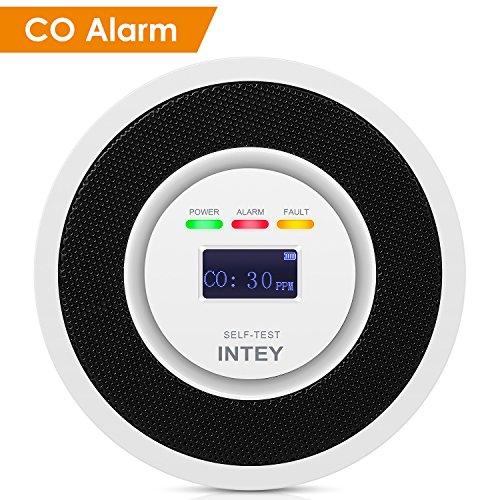 INTEY CO Melder Mikro-Kontrolle Elektrochemischer Sensor Kohlenmonoxidwarnmelder Hohe Empfindlichkeit & starke Anti-Interferenz Ton & Licht Alarm Batteriebetrieben [Niedriger Standby-Stromverbrauch]