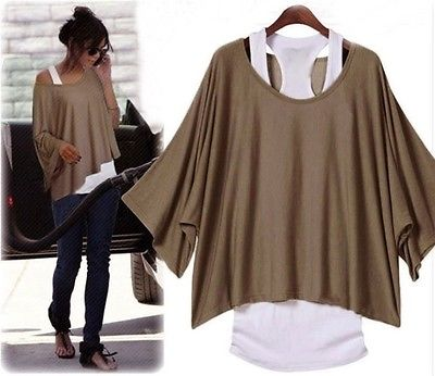 SET  Longshirt  Bluse Poncho Tunika + Top Shirt  (2 in 1) 3 Farben Japan Style