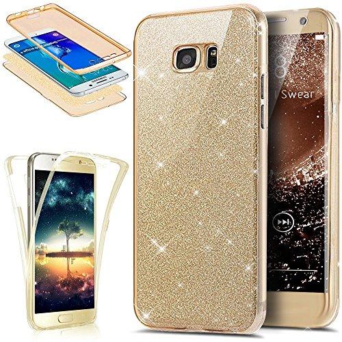 Für Samsung Galaxy S7 Edge Hülle,Samsung Galaxy S7 Edge Silikon Hülle,Rikiney Samsung Galaxy S7 Edge 360°Schutz Glitzer TPU Hülle ,Kristall Bling Glänzend Glitzer Durchsichtig Klar TPU Silikon Hülle Schutz Handy Hülle Tasche Etui Bumper Hülle für Samsung