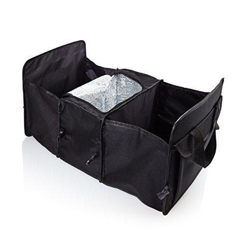 Lumaland Kofferraum Organizer faltbare Kofferraumtasche mit zwei Fächern und Isolierfach ca. 60 x 31 x 28 cm schwarz