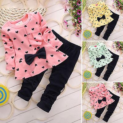 2tlg Baby Kinder Mädchen Kleidung Set Kleid Sweatshirt Top + Hose Outfit Kostüm