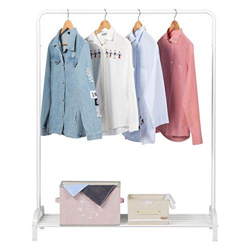 LANGRIA Garderobenständer Kleiderständer mit Schuhablage, 1 Kleiderstang, Metall,120 x 45 x 160 cm (Weiß)