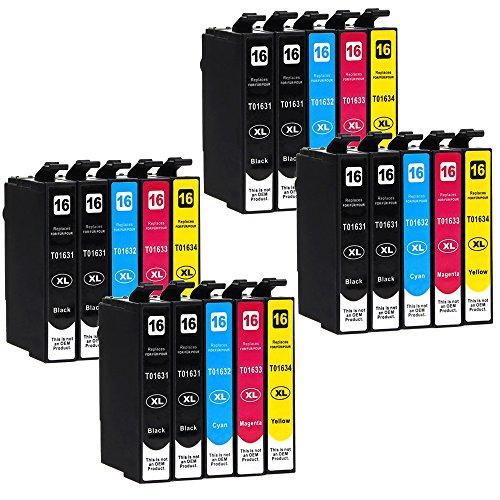 20 Druckerpatronen kompatibel zu Epson 16-XL / T1626 / T1636 (8x Schwarz, 4x Cyan, 4x Magenta, 4x Gelb) passend für Epson WorkForce WF-2010 WF-2500 WF-2510 WF-2520 WF-2530 WF-2540 WF-2630 WF-2650 WF-2660 WF-2700 WF-2750 WF-2760