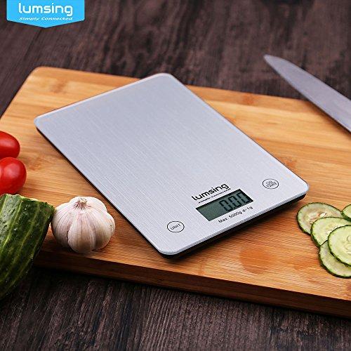Küchenwaage, Lumsing Digital Waage 5kg/1g Haushalt Waage Grammwaage Briefwaage Feinwaage Scale mit Tara-Funktion Edelstahloberfläche LCD-Display in Silber